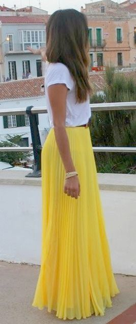 White Tee + Yellow Maxi