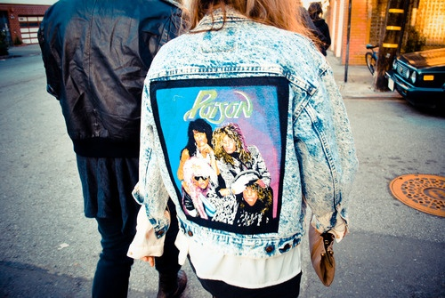 80s rock band Poison on a denim jacket