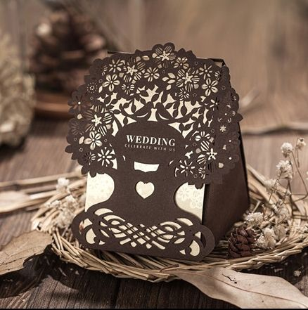 2015 New Arrival Paper Candy 30pcs Brown Wedding Decoration Laser Cut Love Tree Chocolate Party favors Gifts Box For Guest