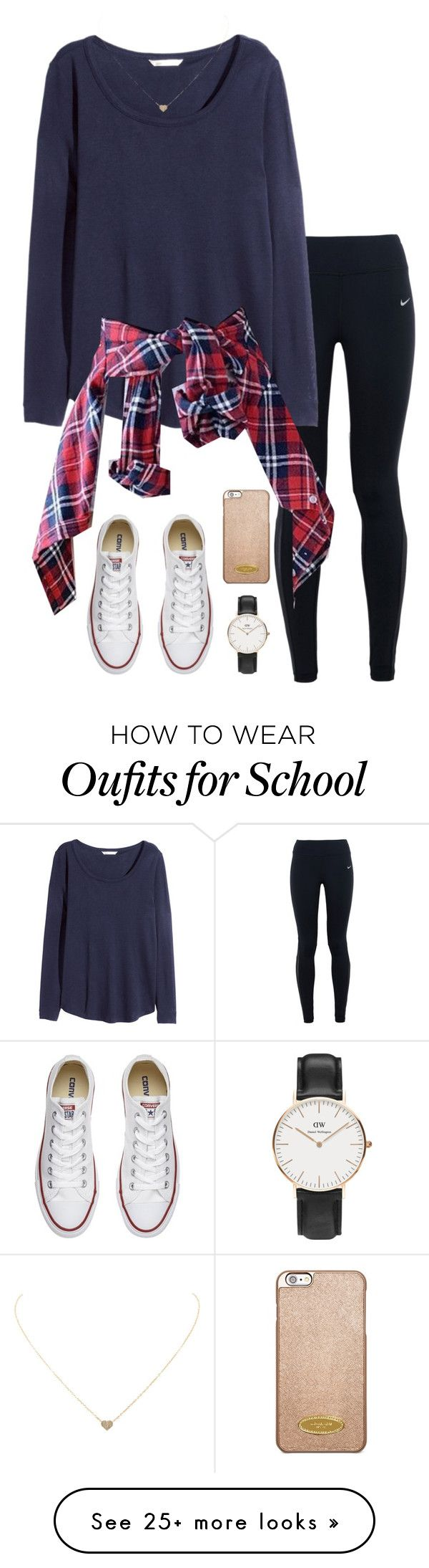 "I couldn't do the leggings but maybe black jeans- ""School today"" by ksarak on Polyvore featuring NIKE, H&M, Humble Chic, Daniel Wellington, Michael Kors and Converse"