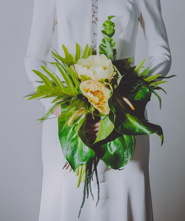 Such an amazing tropical #wedding bouquet! From http://greenweddingshoes.com/retro-tropical-wedding-inspiration/  Photo Credit: http://ambergress.com/#/id/i7332179  Floral Design by http://bladenyc.com/