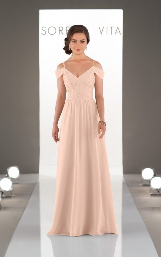Romantic blush off the shoulder bridesmaids dress by Sorella Vita