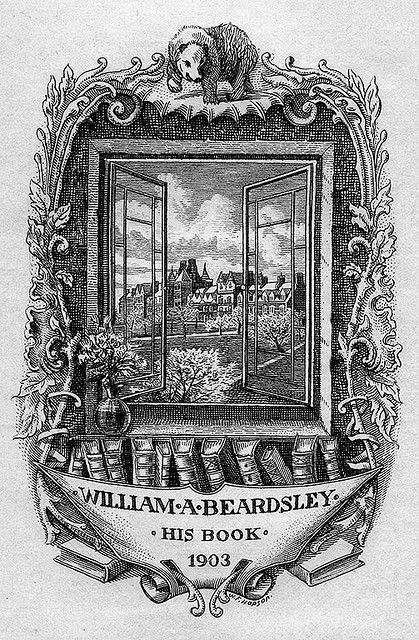 Bookplate of William A. Beardsley   Artist: Hopson, William Fowler, 1849-1935     Date: 1903     Description: States, 'William A. Beardsley - His Book - 1903;' features an open window through which is visible a landscape with a manor or other building; also depicts a bear, vase with flowers, and books. Signed in lower right, 'W. F. Hopson.'     Format: 1 print, b&w, 12 x 8 cm.     Source: Pratt Institute Libraries, Special Collections 73 (sc00082) Pratt Libraries Website