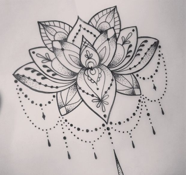 Lotus tattoo (+dot work