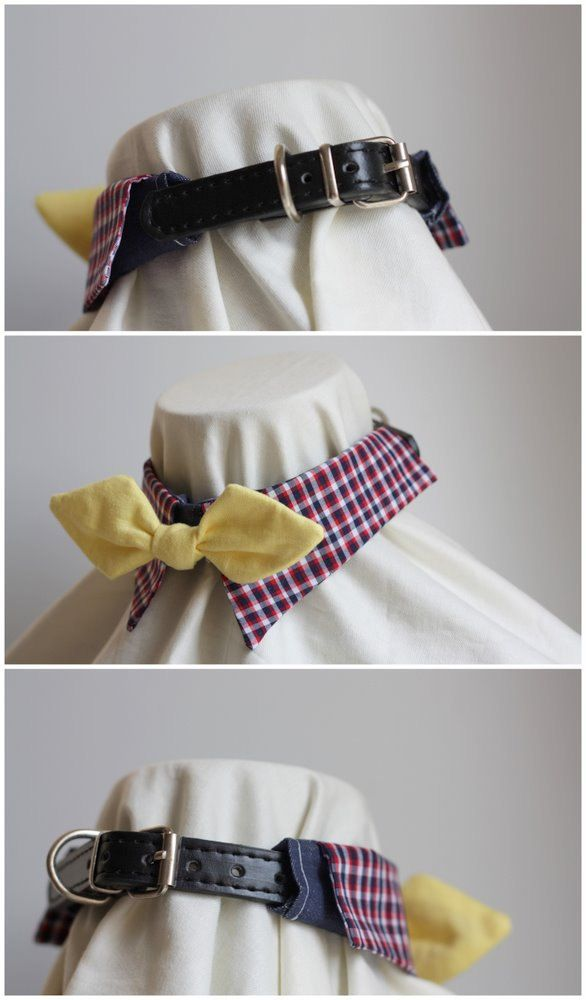 Pet's Fancy Shirt Collar with Bow-tie for Small dogs or cats, PU leashable collar included