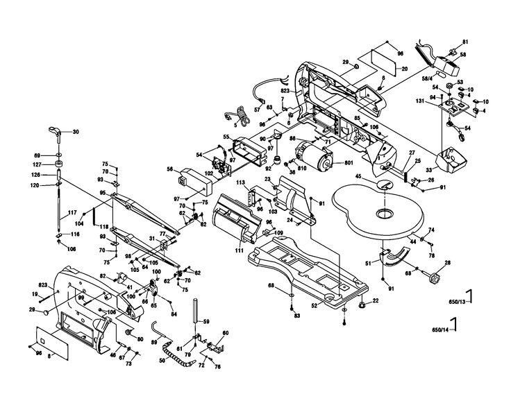 SCROLL SAW Diagram & Parts List for Model 1680 Dremel