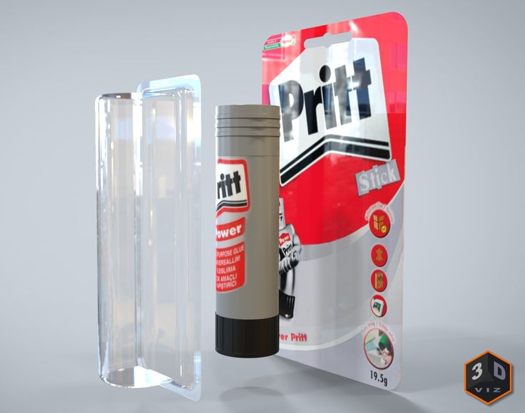 Pritt glue stick exploding out of packaging. Modeled in Solid Edge. Rendered in KeyShot.