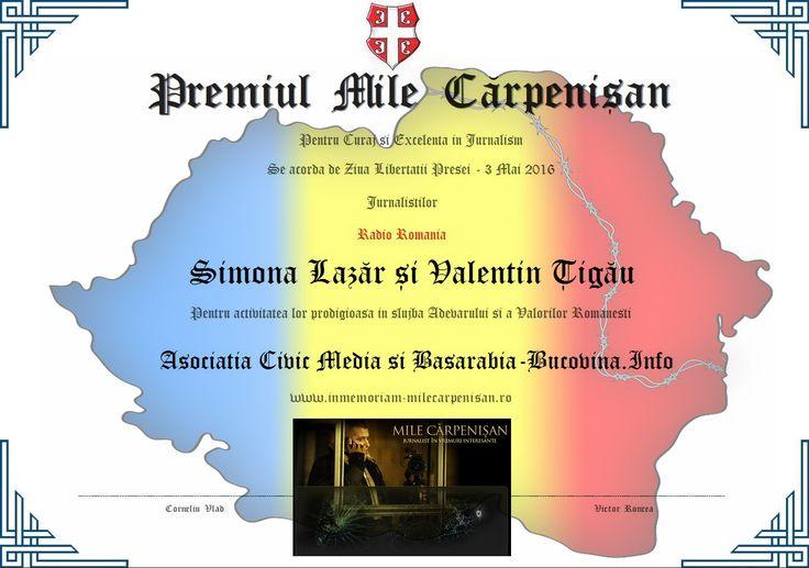 Diploma Mile Carpenisan - Civic Media 2016 - Simona Lazar - Valentin Tigau - Radio Romania