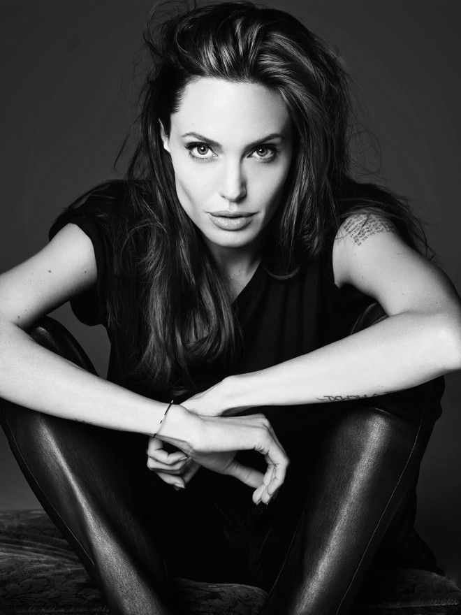 The gorgeous Angelina Jolie looks stunning in this black-and-white Elle shoot from famed designer Hedi Slimane of Saint Laurent Paris
