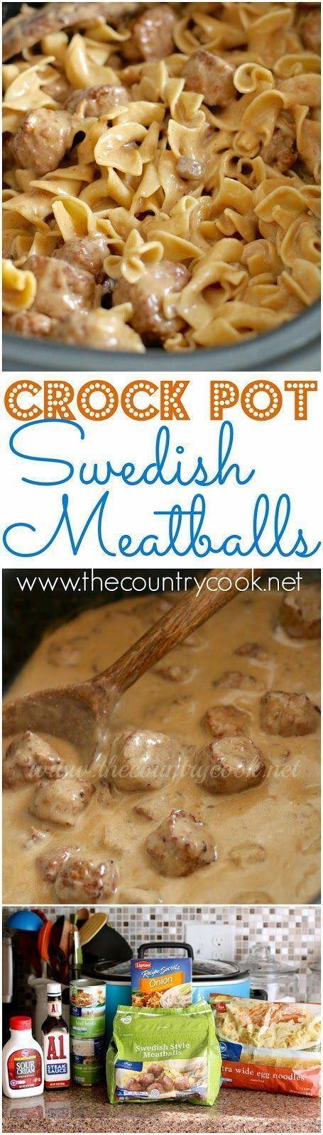 Crock Pot Swedish Meatball Recipe from The Country Cook. Similar to beef stroganoff but with meatballs! Simple to make. Frozen meatballs, egg noodles and a creamy sauce all mixed together! A HUGE family favorite!! All made in a slow cooker!