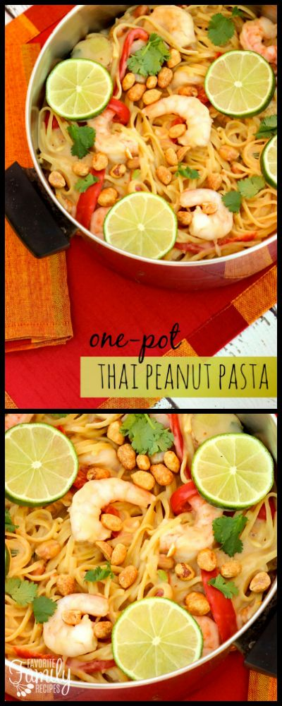 This One Pot Thai Peanut Pasta features shrimp or chicken, noodles, vegetables, seasonings, and peanuts all cooked together in a light, creamy peanut sauce. via @favfamilyrecipz