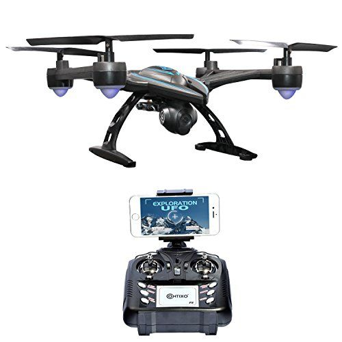 Black Friday - Contixo 720P FPV F5 Quadcopter Drone with Wi-Fi Camera Live Video Headless Mode 2.4GHz 4 Channel 6 Axis Gyro RTF 1 Button Auto Landing & Return Features