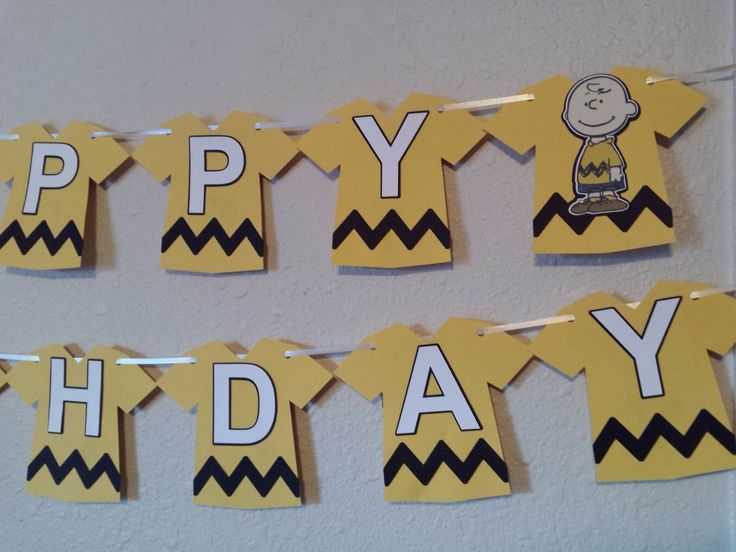 Charlie Brown Birthday Banner, Peanuts Birthday Banner, Charlie Brown Decor, Charlie Brown Party, Peanuts Gang, Peanuts Party, Snoopy by NettiesCraftyCorner on Etsy https://www.etsy.com/listing/255955777/charlie-brown-birthday-banner-peanuts