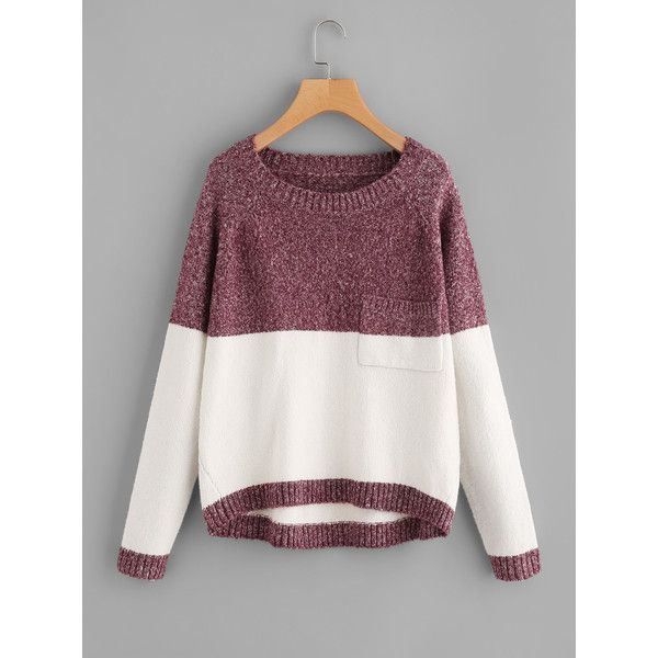 Two Tone Marled Knit Jumper ❤ liked on Polyvore featuring tops, sweaters, knit jumper, marled top, purple knit sweater, purple jumper and purple sweaters