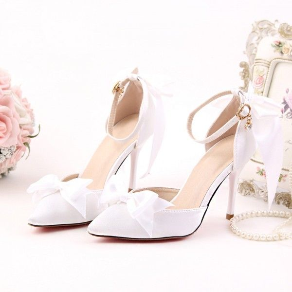 09d01c03fb38 Women s Style Pumps and D orsay Heels White Satin Pointy Toe Stiletto Heels  Wedding Shoes Bow Stiletto Heels Ankle Strap Pumps For Party New Years Eve  Party ...