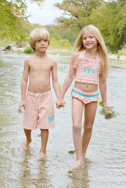 matching sibling monogrammed bathing suits!!