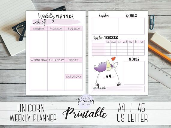 Check out this item in my Etsy shop https://www.etsy.com/listing/581120263/weekly-planner-printable-unicorn-planner