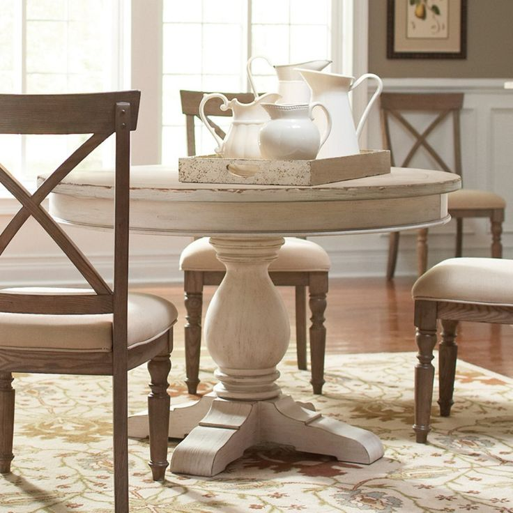 Riverside Aberdeen Round Pedestal Dining Table - Take a trip to the countryside with the Riverside Aberdeen Round Pedestal Dining Table. This pretty table is constructed of poplar hardwood solids wit...