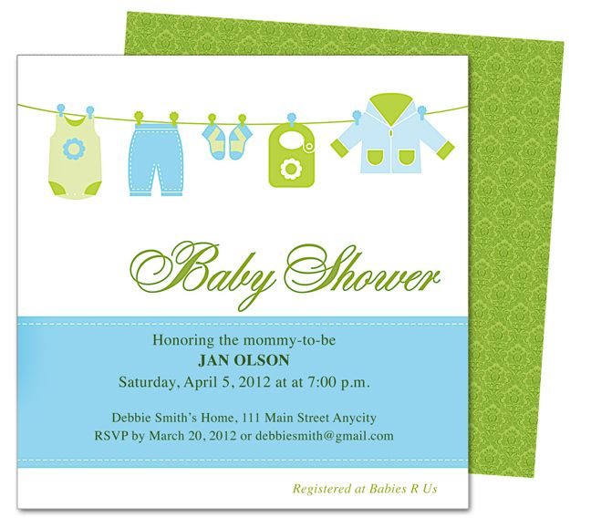 Clothesline Baby Shower Template Invitation. Edit Yourself With Word,  Publisher, Apple IWork Pages  Baby Shower Invitation Template Microsoft Word