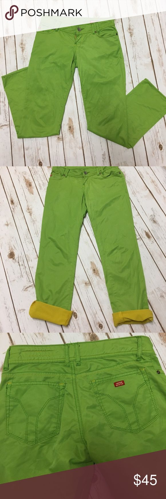 """Miss Sixty Italian Capris These feel like luxury sheets!  They're really cute and pretty bright  green with yellow lining. Made in Italy, 62% Cotton, 32% Nylon, 6%, Elastic. Approx measurements 16"""" Waist, 29"""" inseam. Miss Sixty Pants Ankle & Cropped"""