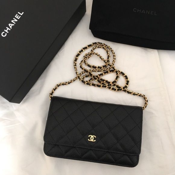 Chanel Classic Quilted Caviar WOC Wallet on chain. Note: wallet size on a chain! Classic. Gold hardware. Brand new never worn in box! Inside is the classic burgundy leather. Guaranteed Authentic! Perfect condition. Can be work as clutch, shoulder bag or crossbody! CHANEL Bags Crossbody Bags