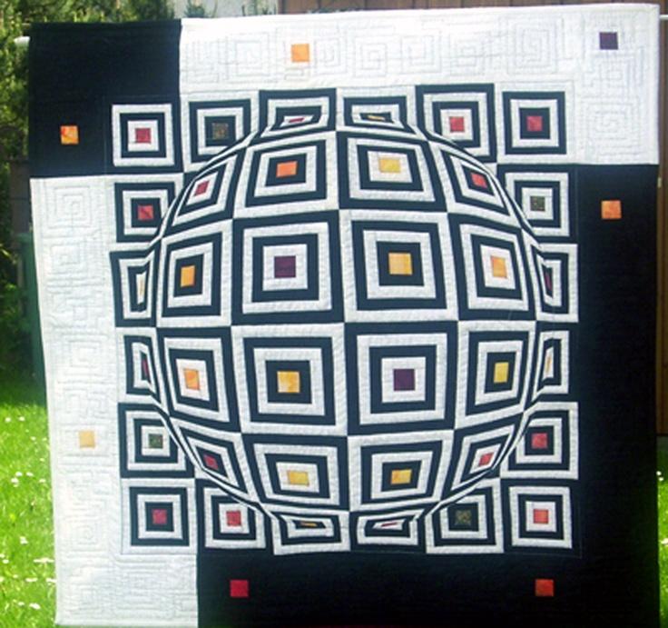 3D quilts | 3D-Quilt in schwarz/weiß