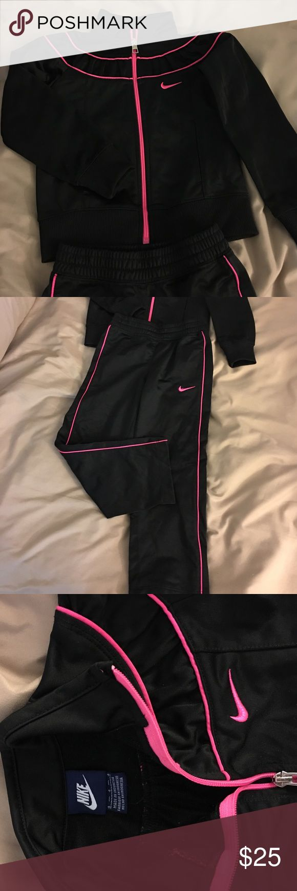 Nike Sweat Suit Pants and Matching Jacket NWOT Black with hot pink stripes - Nike Brand Nike Matching Sets