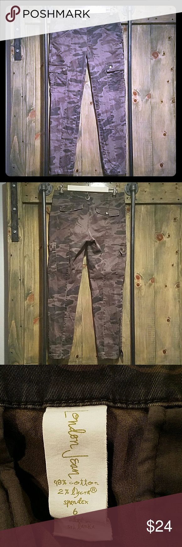 London Jean Camouflage Pants Super cool army green camouflaged  pants. Front, back and side pockets. Zipper at bottom of pant legs, size 6 Short. Not low rise. Considered mid/high rise. Has stretch! Like skinnies. London Jean Pants