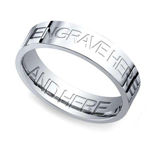 Engraved Flat Mens Wedding Ring In White Gold