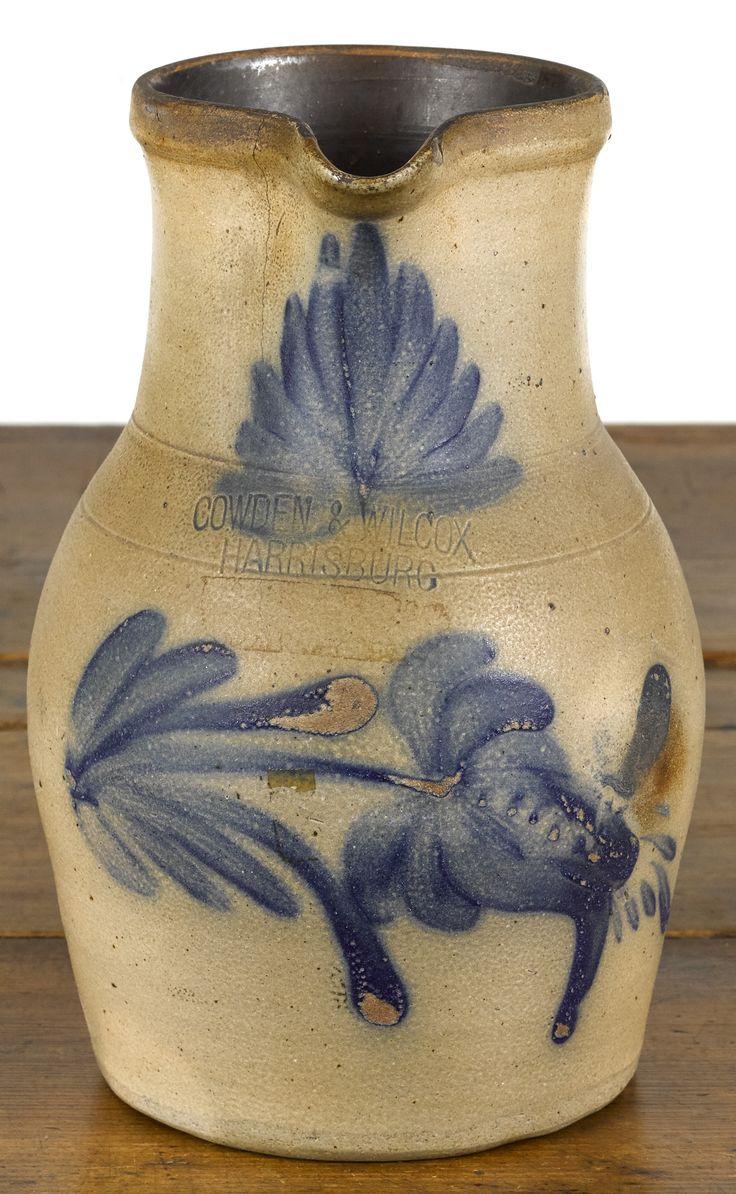 "Pennsylvania stoneware pitcher, 19th c., impressed Cowden & Wilcox Harrisburg, with cobalt floral decoration, 11 1/4"" h.  Estimate: $200–$400  Realized Price: $461"