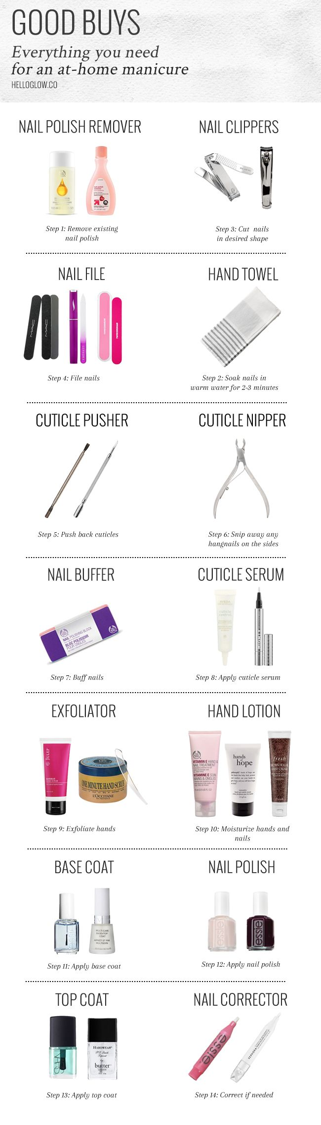 From nail files to polish removers, get the must-have home manicure supplies for a perfect DIY manicure.