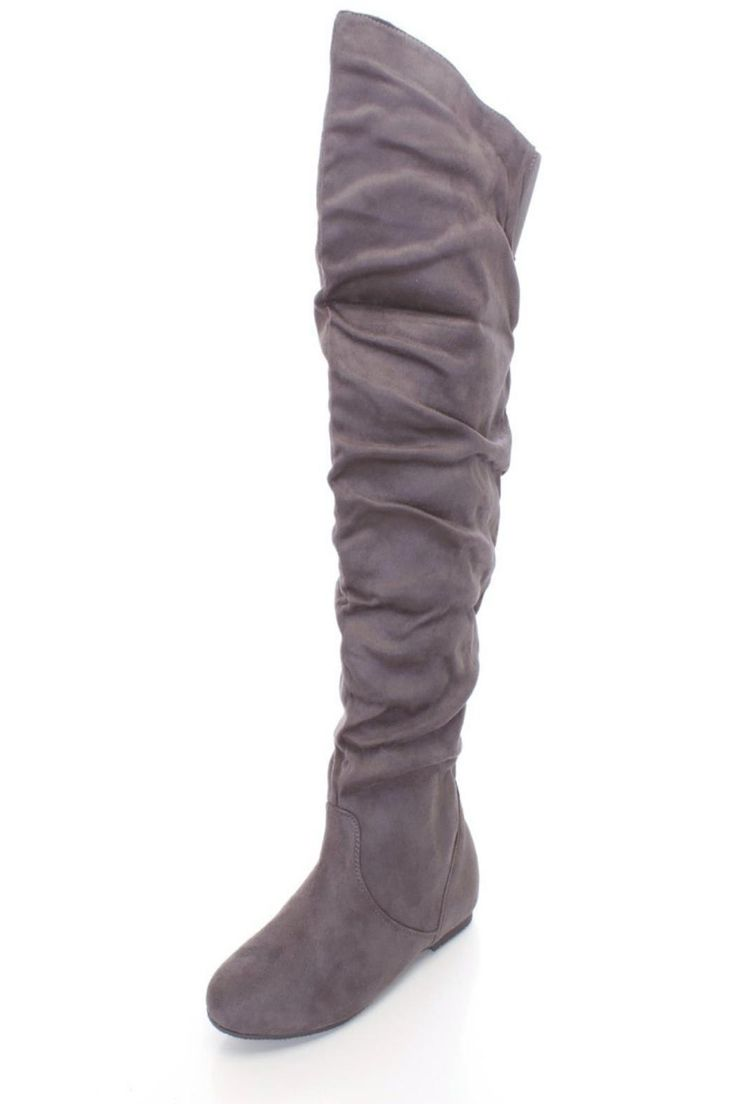 """Vegan suede scrunch over the knee thigh high flat boots. Rock these comfortable must-have boots with skinny jeans and your fave crop top! Features round closed toe, smooth lining and cushioned footbed.    Approx. 16.5"""" circumference and 22"""" shaft.   Over-Knee Boots by BRANDED. Shoes - Boots - Over The Knee San Diego, California"""