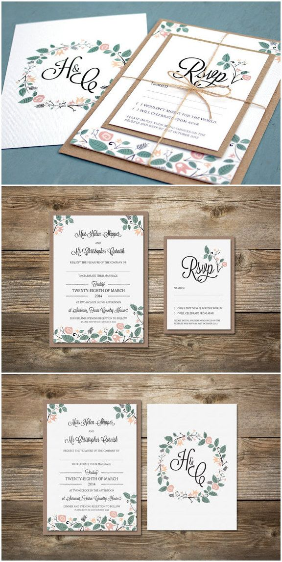 sage and pink shabby chic rustic floral wedding invitations