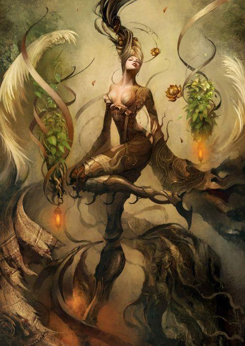 Kinnaree  by Saryth Chareonpanichkul: Creature, Concept Art, Fantasy Art, Digital Art, Illustration, Mythology