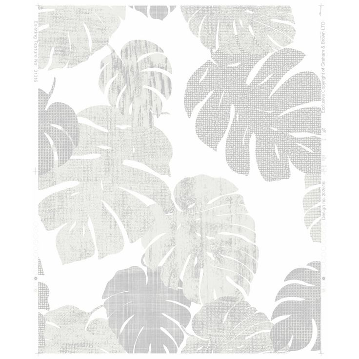 Wilko Wallpaper Cheese Plant White and Silver