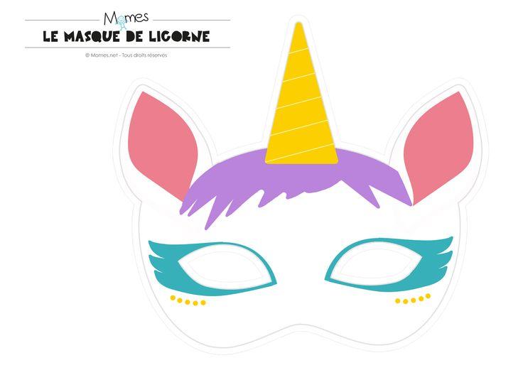 masque de licorne à imprimer
