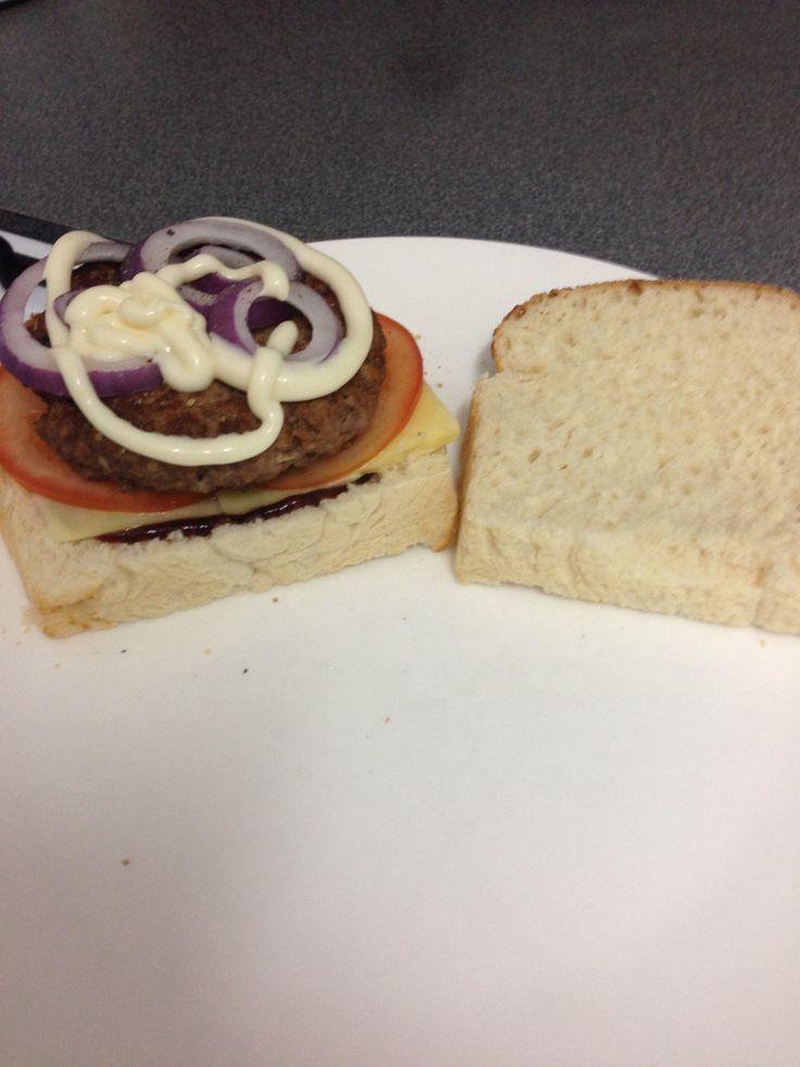 Homemade bread and burger patties - yummmmm