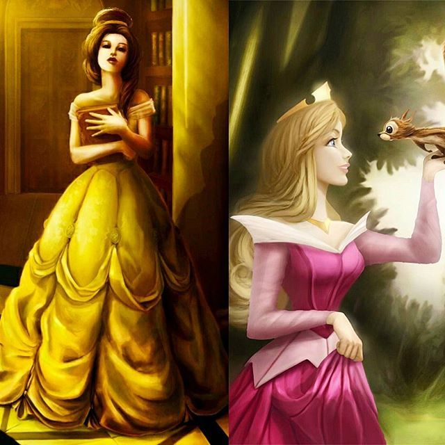 Drawing of Belle and Aurora Beauty