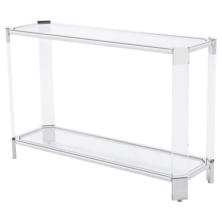 Warren Angled Acrylic Silver Console Table | Kathy Kuo Home