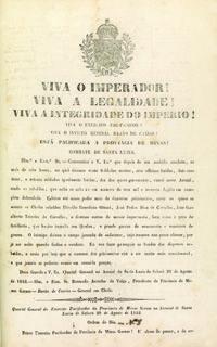 Proclamação do barão de Caxias anunciando o fim da revolta liberal em Minas. Sabará, Minas Gerais, 20 de agosto de 1842. Diversos códices.