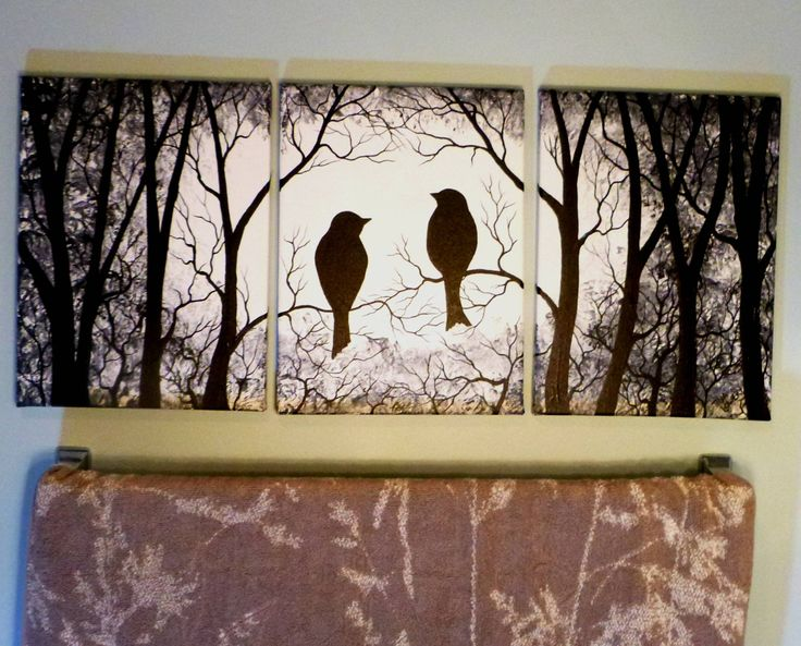 "3 Piece set Wall Art, Birds on Trees, Three 9"" x 12"" Canvas Paintings. by ArtbySimplyMe on Etsy"