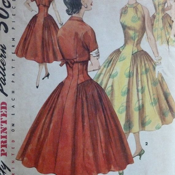 Vintage 1950s Sewing Pattern - Cocktail Dress and Bolero Jacket Set - Nipped Waist, Full Skirt - Bust 36