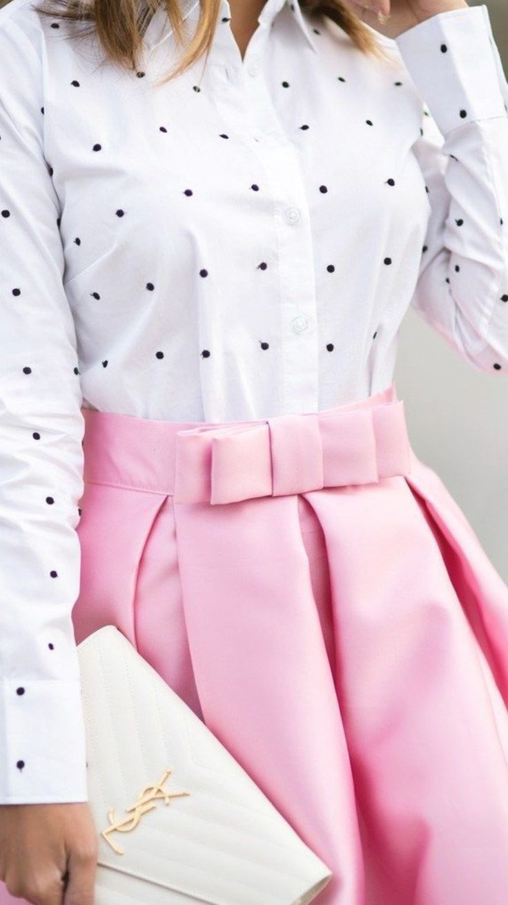 Pink bow skirt + polka dot top
