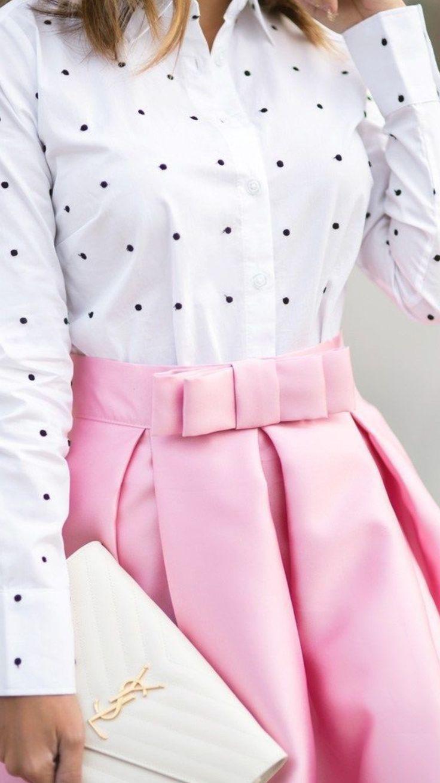 Pink bow skirt + polka dot top