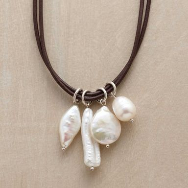 """PERFECT MATCH NECKLACE -- Pearls meet their match in brown leather, a rich complement to four distinctive natural shapes that make each necklace truly unique. Handmade in the USA by Chan Luu. Exclusive. 16""""L."""