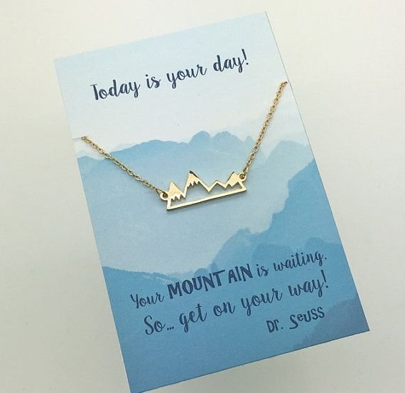 Silver orGold Mountain Necklace - Silver or Gold Bar Mountain Necklace - choose carded your mountain is waiting or in a silver gift box