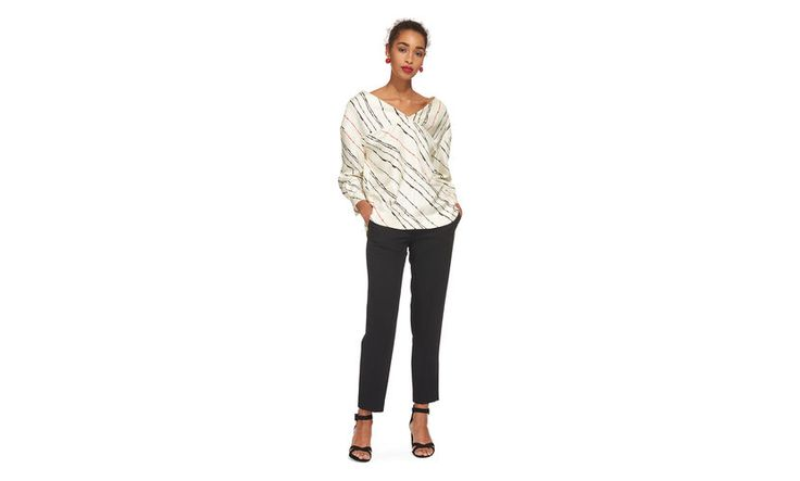 <p>The sketch-like stripes, the vivid red accents, the clean-cut silhouette - this silk blouse makes a statement without feeling overly fussy. Pair with poppy red jeans or black tailored trouser and trainers. <p> <br> ·100% silk<br> ·Limited Edition<br> ·Length to hem 65cm<br> <br> Maria is 5'9''/176cm and is wearing a UK size 8