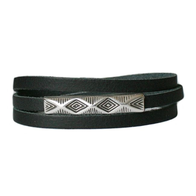 Lederen wikkelarmband Balansz LA78, zwart