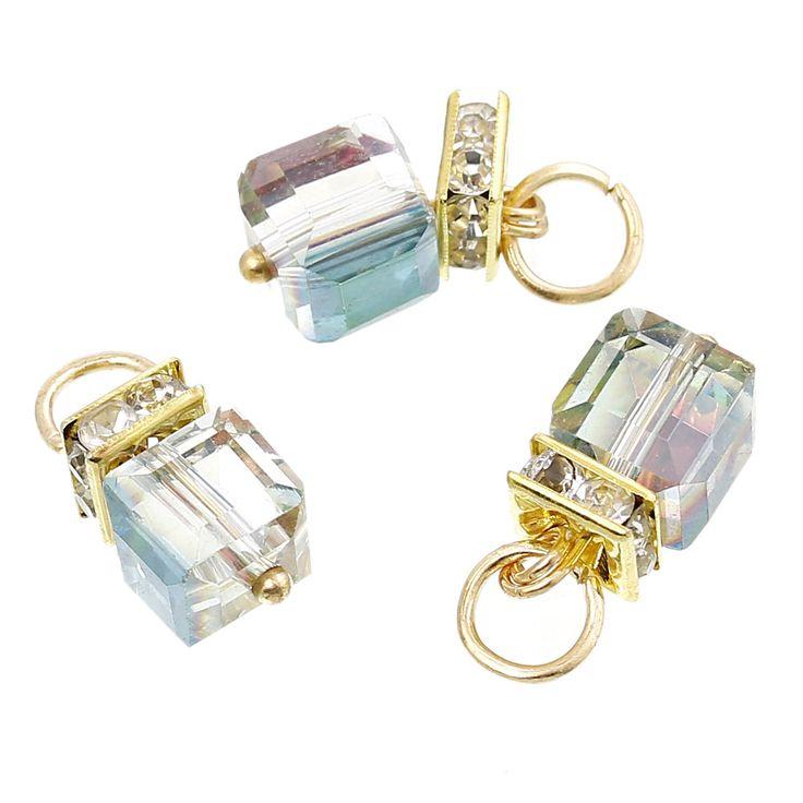"""Aliexpress.com : Acquista Copper pendenti di fascino cube placcato oro del rhinestone ab colore sfaccettato 20.0mm (6/8 """") x 9.0mm (3/8""""), 10 pz 2015 nuovo da Fornitori pendagli in vetro fiala affidabili su Dorabeads Jewelry"""