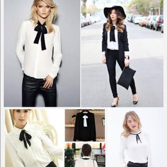 1cbc6ee72995f1 Zara white blouse with black bow Zara white blouse with black bow ...